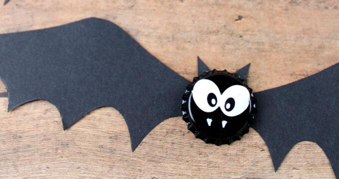 Bat Bottle Cap Magnets Halloween Craft