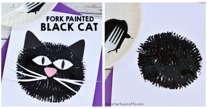 Fork Painted Black Cat Craft For Kids