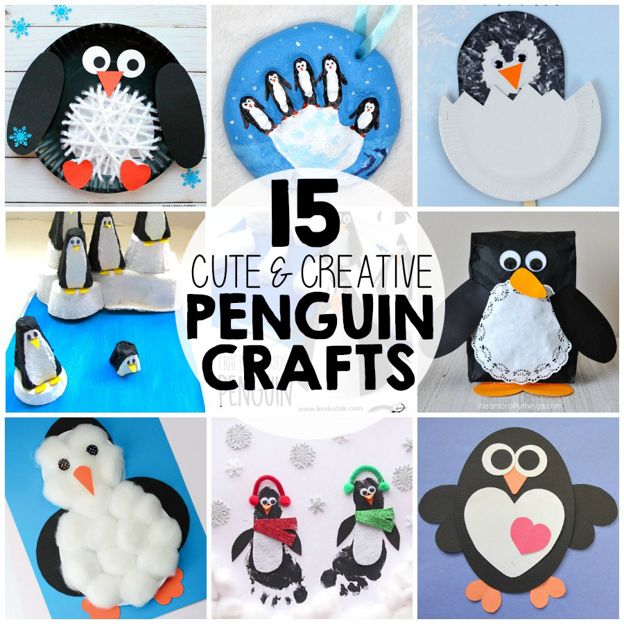 These 15 creative penguin crafts make the perfect winter kids craft, preschool craft, and winter animal craft for kids.