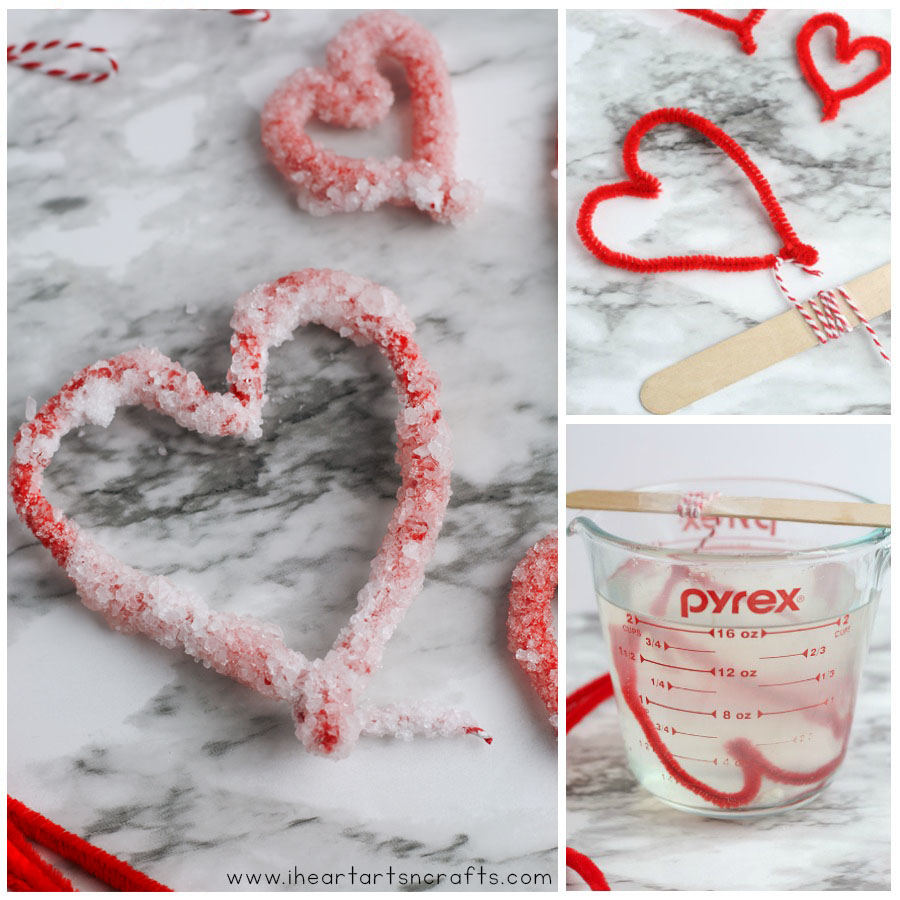 Make these growing crystal hearts for Valentine's Day using just a few supplies! The kids will love this easy Crystal Heart Science Experiment that they can do right at home.