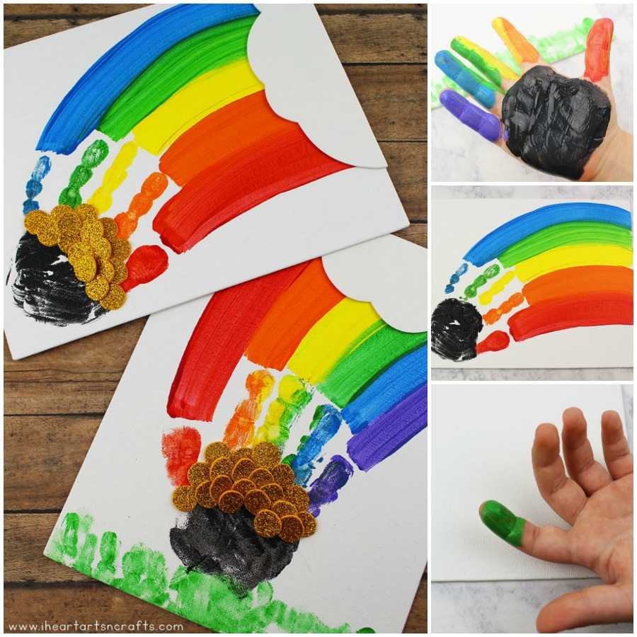 This cute and colorful handprint rainbow craft is perfect for a rainy day activity or as a fun St. Patrick's Day craft!