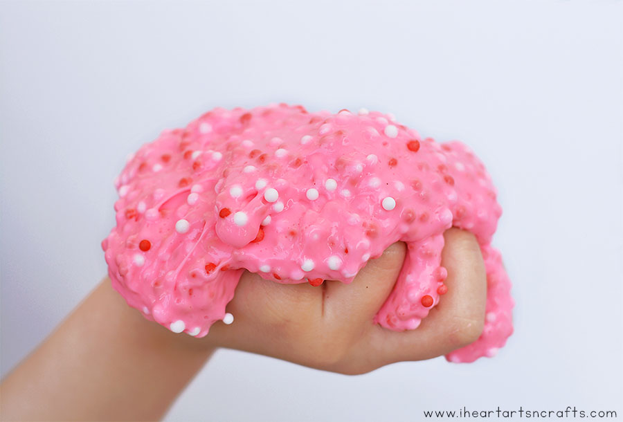 Make our easy Valentine Floam Slime that feels crunchy but still stretchy and moldable!