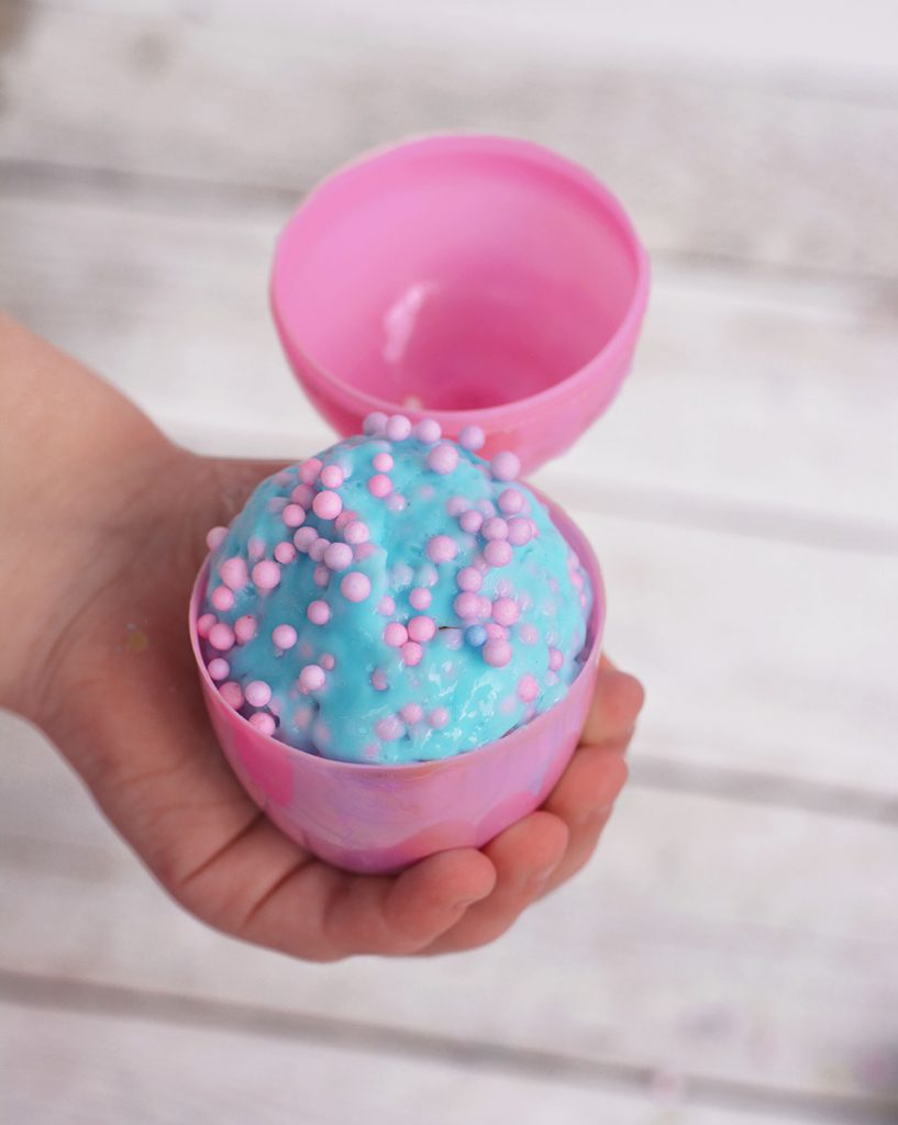 Make our easy Easter Floam Slime using saline solution! This crunchy, stretchy slime is the perfect Easter treat to fill into little Easter eggs!