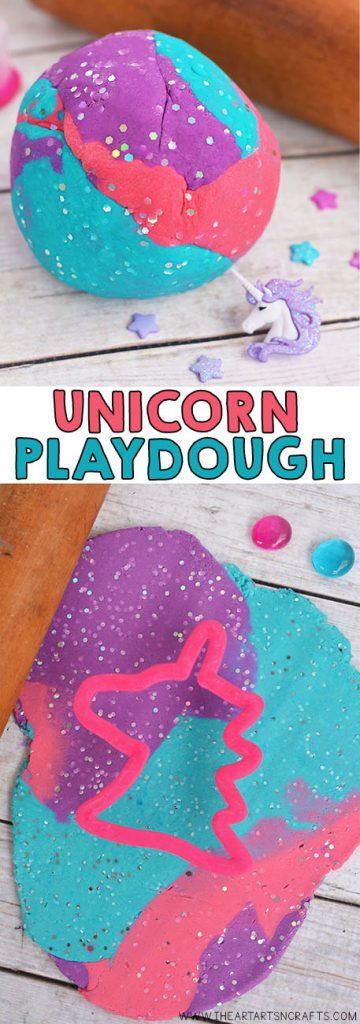 Make your own Homemade Unicorn Playdough! This colorful and glittery no cook playdough is the softest and last for months!