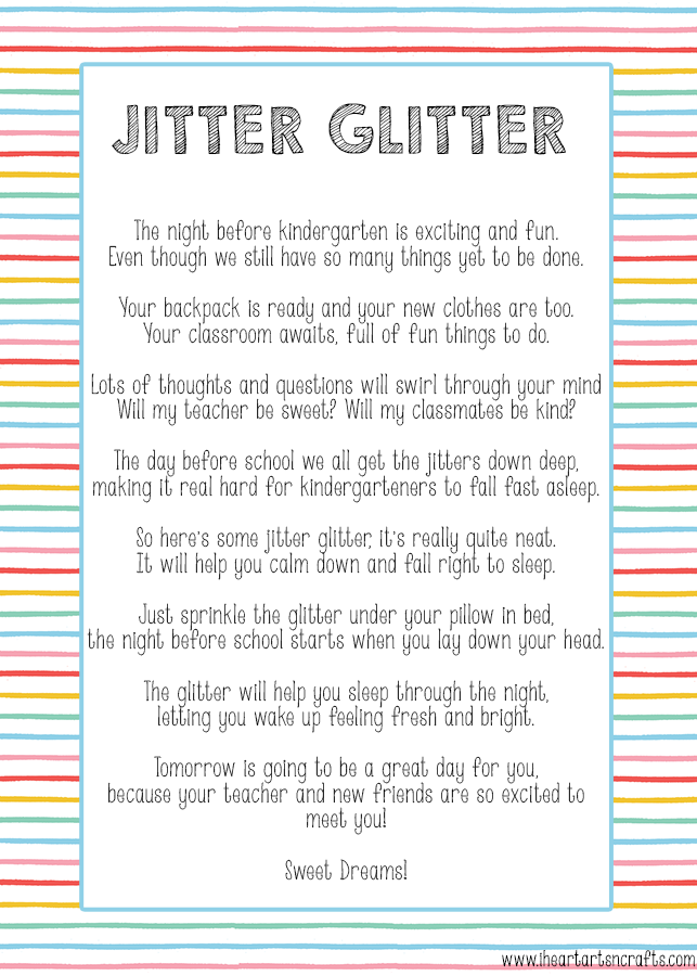 image about Jitter Glitter Poem Printable identified as 10 Components Toward Do Right before Kindergarten Starts off - I Centre Arts n