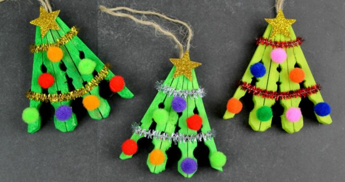 Clothespin Christmas Tree Ornament Craft For Kids