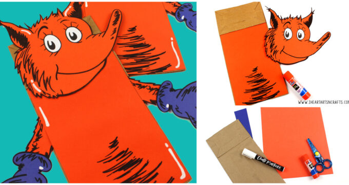 Fox In Socks Paper Bag Puppet Craft Free Printable Template